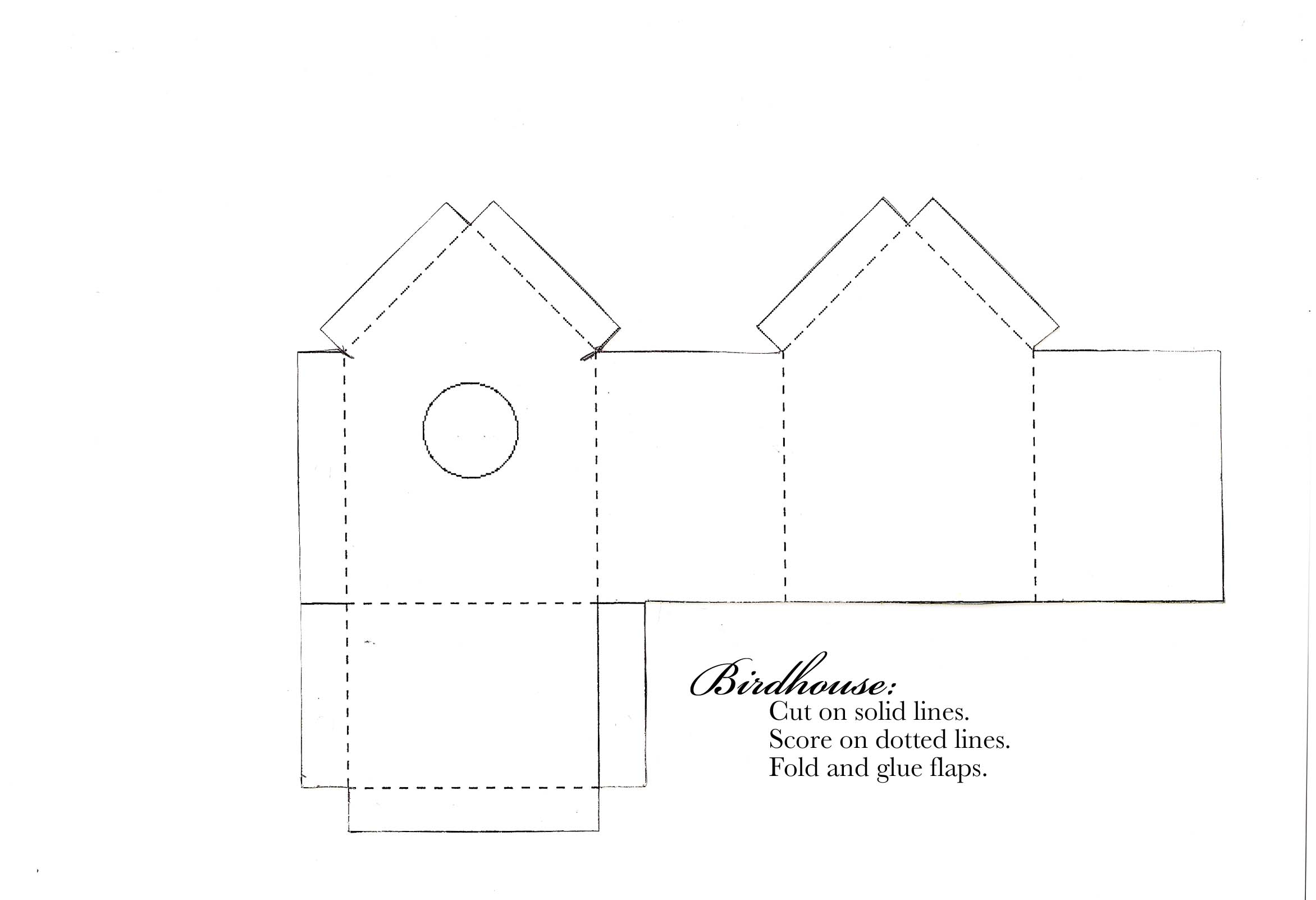 3D Paper House Patterns http://cardoftheweek.com/2009/03/birdhouse-chall/